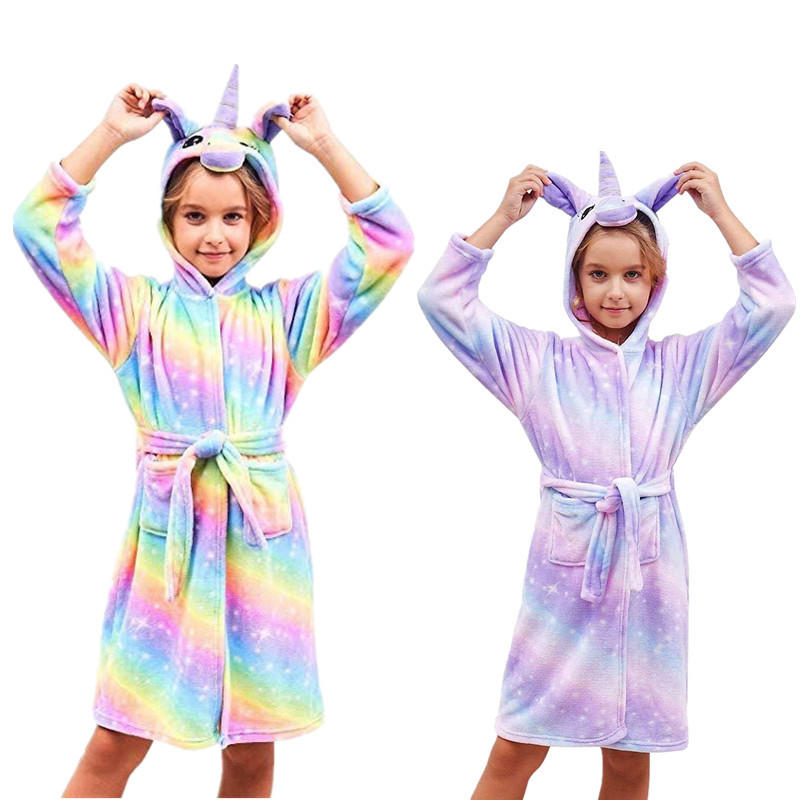 379f4e42fc572 New Unicorn Hooded Children Bathrobes Kids Rainbow Star Bath Robes for Boys  Girls Pyjamas Peignoir ...