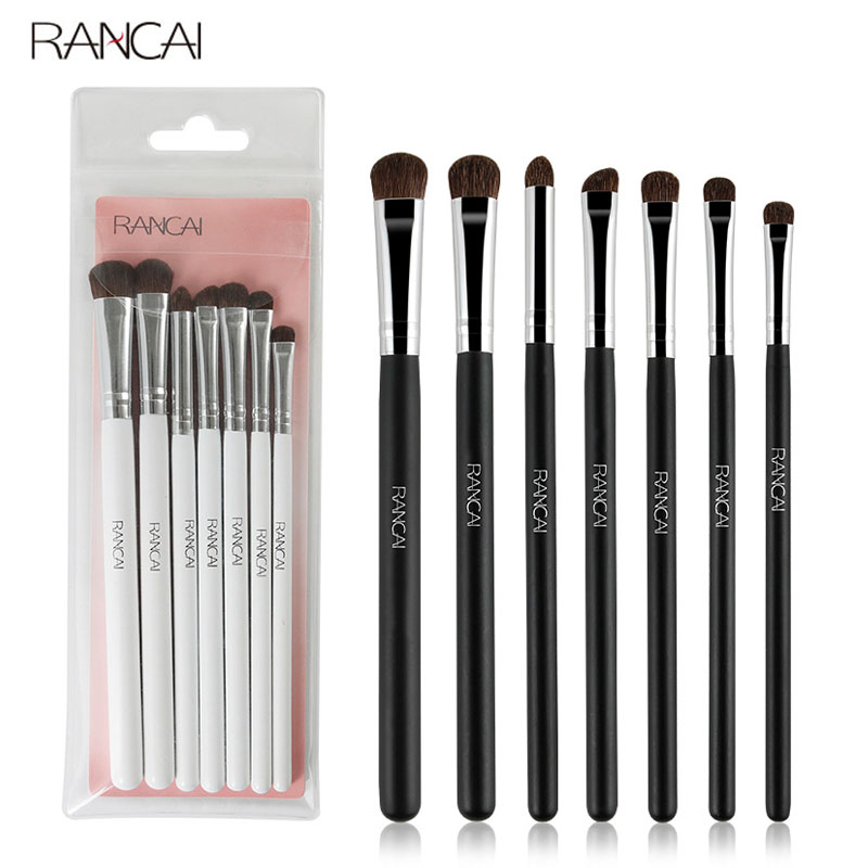 RANCAI 7pcs Eye shadow Makeup Brushes Set Natural Animal Horse Pony Soft Hair Cosmetics Blending Smudge