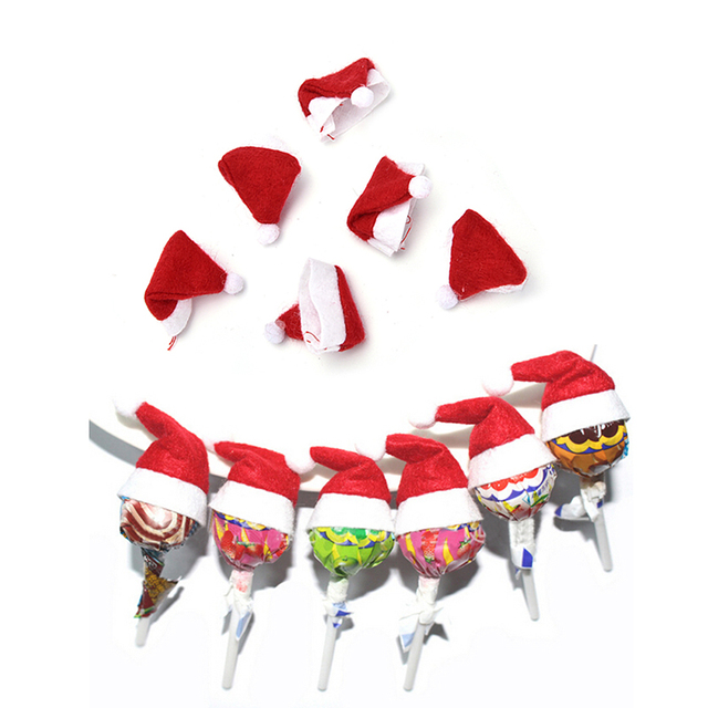 christmas lollipop cover tops wrap decoration xmas mini santa claus hat party garden ornament christmas decorations - Lollipop Christmas Decorations