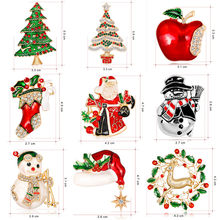 Fashion Christmas Enamel Brooch Tree Nice Red Shoe Boot Bell Deer Snowman Crystal Pin For Women Party Jewelry Christmas Gift(China)