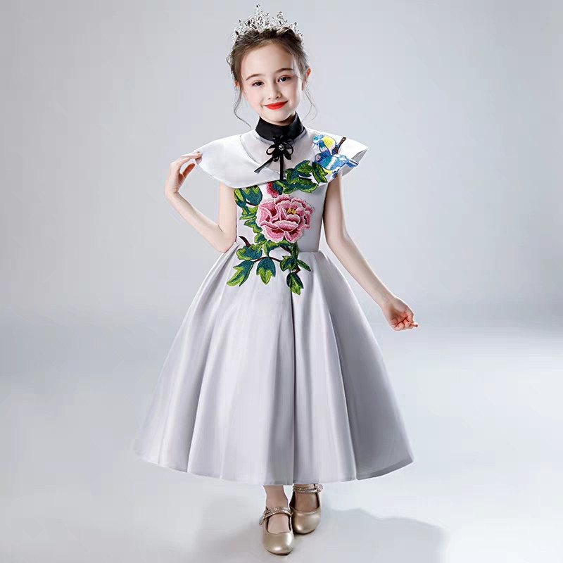 Children Girls Luxury Chinese Traditional Embroidery Flowers Evening Party Ceremonies Prom Dress Infant Kids Tutu Host DressChildren Girls Luxury Chinese Traditional Embroidery Flowers Evening Party Ceremonies Prom Dress Infant Kids Tutu Host Dress