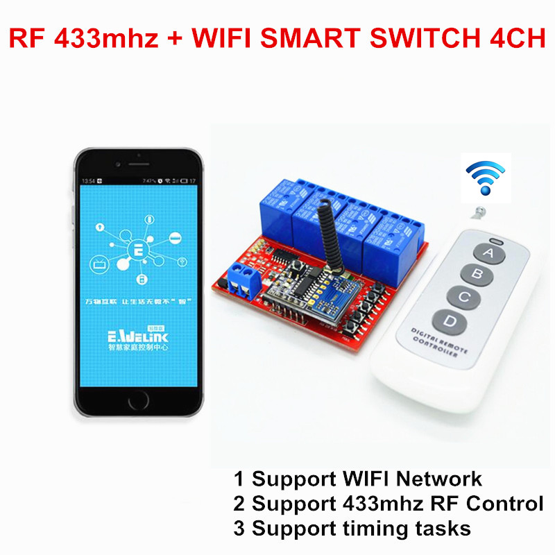 2017 Hot 4CH 5V DC WIFI Light Switch Controlled by Phone APP, RF 433mhz Wireless Remote Control Switches For Garage Smart Home 2ch dc 5v wifi wireless smart switch module controlled by app on android ios for home automation light appliance garage door