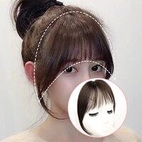 Air Bangs Seamless Invisible Head Hair Wig Female Short Heat Resistant Synthetic Natural Fluffy Similar to Real Human Fake Hair