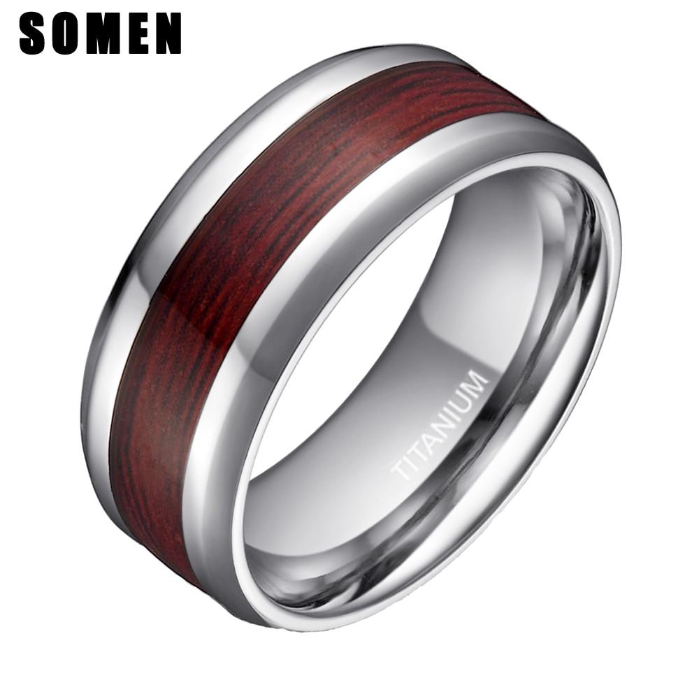 8mm Mens Real Wood Inlay Titanium Ring Male Wedding Band