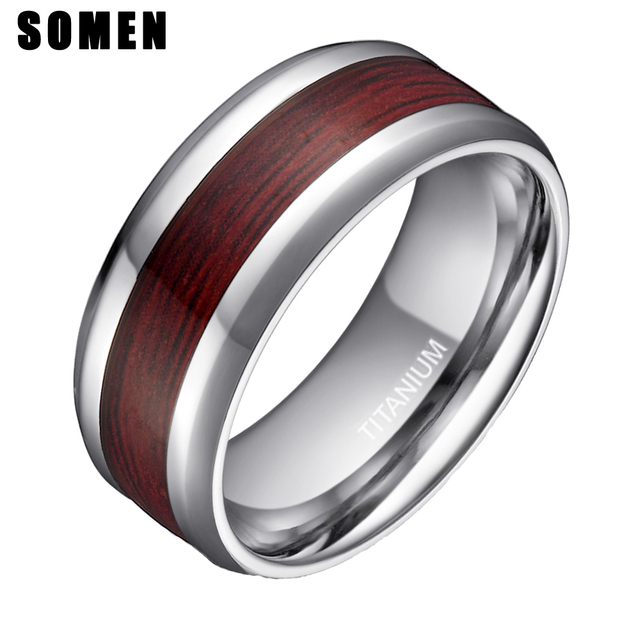 31b73ff62ea14 US $7.46 29% OFF|Somen 8mm Men's Real Wood Inlay Titanium Ring Wedding Band  Fashion Wooden Male Engagement Ring anillos hombre USA Size 5 14-in ...