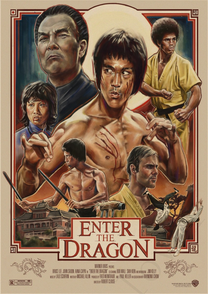 Bruce Lee Enter The Dragon Kraft Paper Posters Print Super Kung Fu
