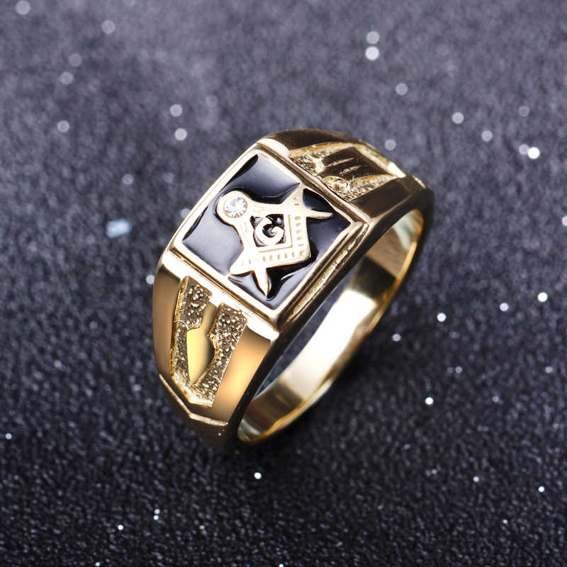 הגעה לניו נירוסטה הבונים החופשיים טבעת עם קריסטל ברור בסגנון אירופה תכשיטי אופנה טבעות mens