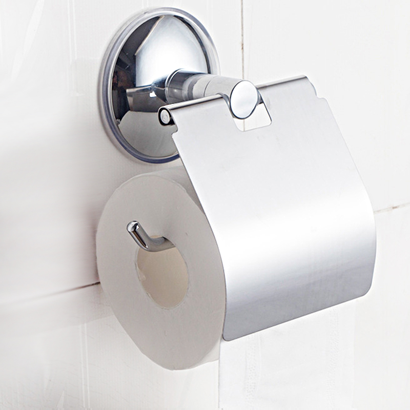 Sucker Wall Mounted Toilet Paper Holder Practical Tissue Box Bathroom Lavatory Cover Roll Paper Tissue Boxes Storage Accessories