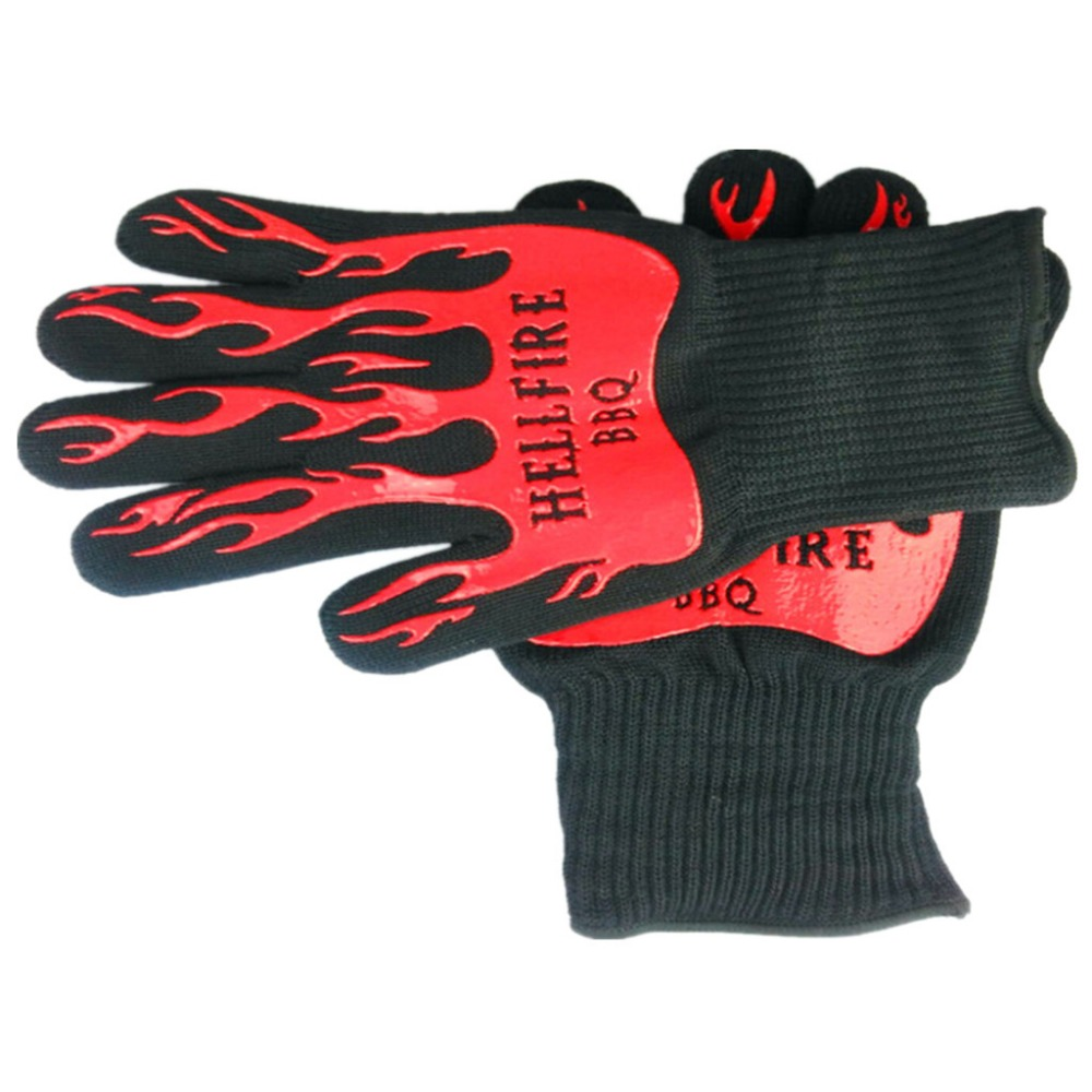 High quality Heat resistant gloves BBQ Oven glove Protecting hand from fire and heat up to 932F EN407 1 pair free shipping aramid fire insulation gloves heat resistant glove 932f bbq glove oven kitchen glove direct supply