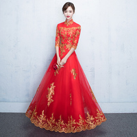 Asian Bride Spring Wedding Dress Chinese Traditional Embroidery Flower Cheongsam Lace Elegant Mesh Dress Gown Size XS XXXL
