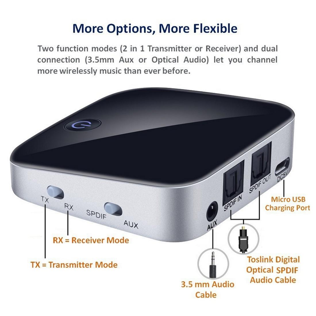 Sans fil Bluetooth V4.1 3.5mm émetteur récepteur Aptx Fiber sans perte adaptateur Audio stéréo récepteur Bluetooth pour ordinateur de télévision