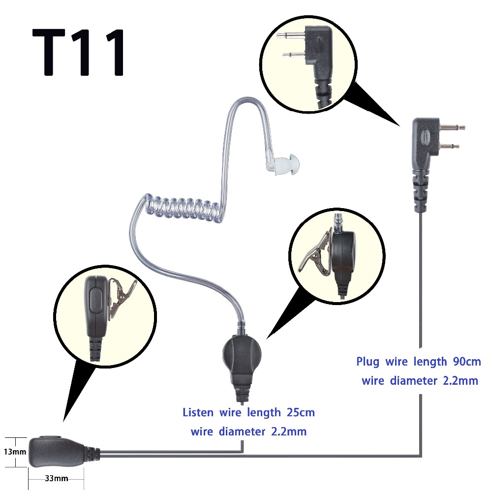 2-wire Headset Earphone Mic For ICOM IC-F1000D IC-F2000D Portable Radio