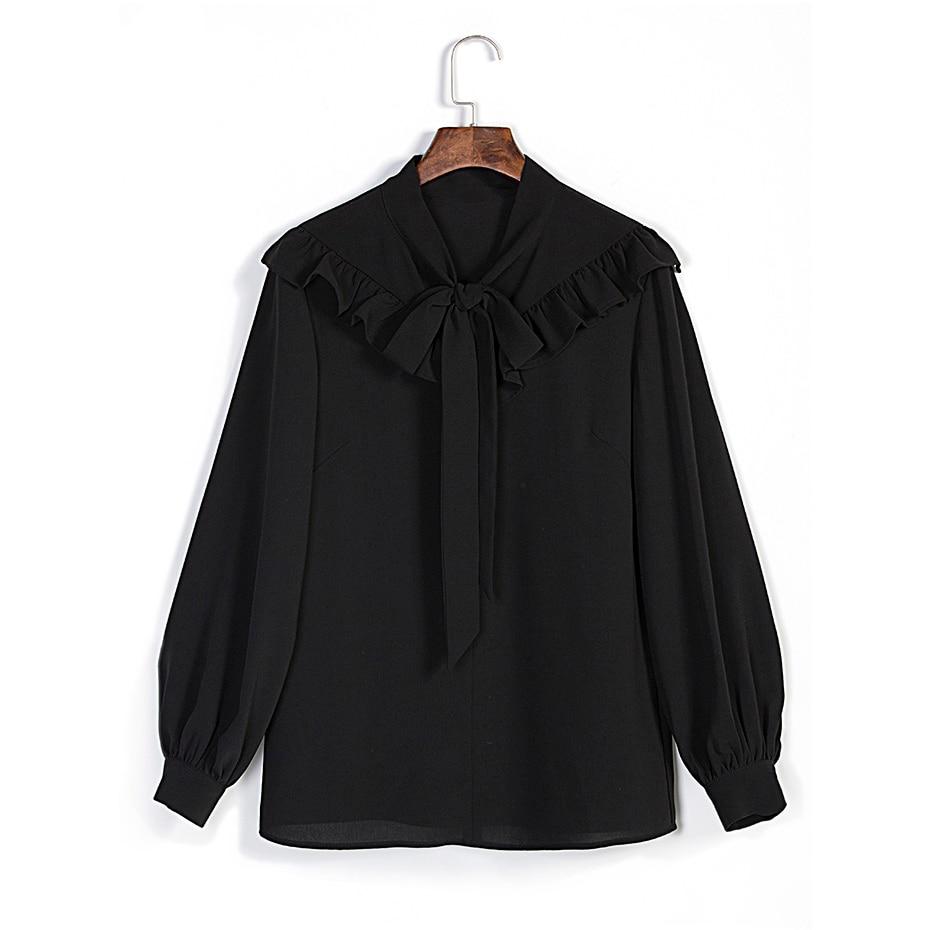 Black Chiffon Women Blouses Ruffle Bow Gothic Blouse Shirt Long Latern Sleeve Plain Plus Size 3XL feminine Blouse Women Tops
