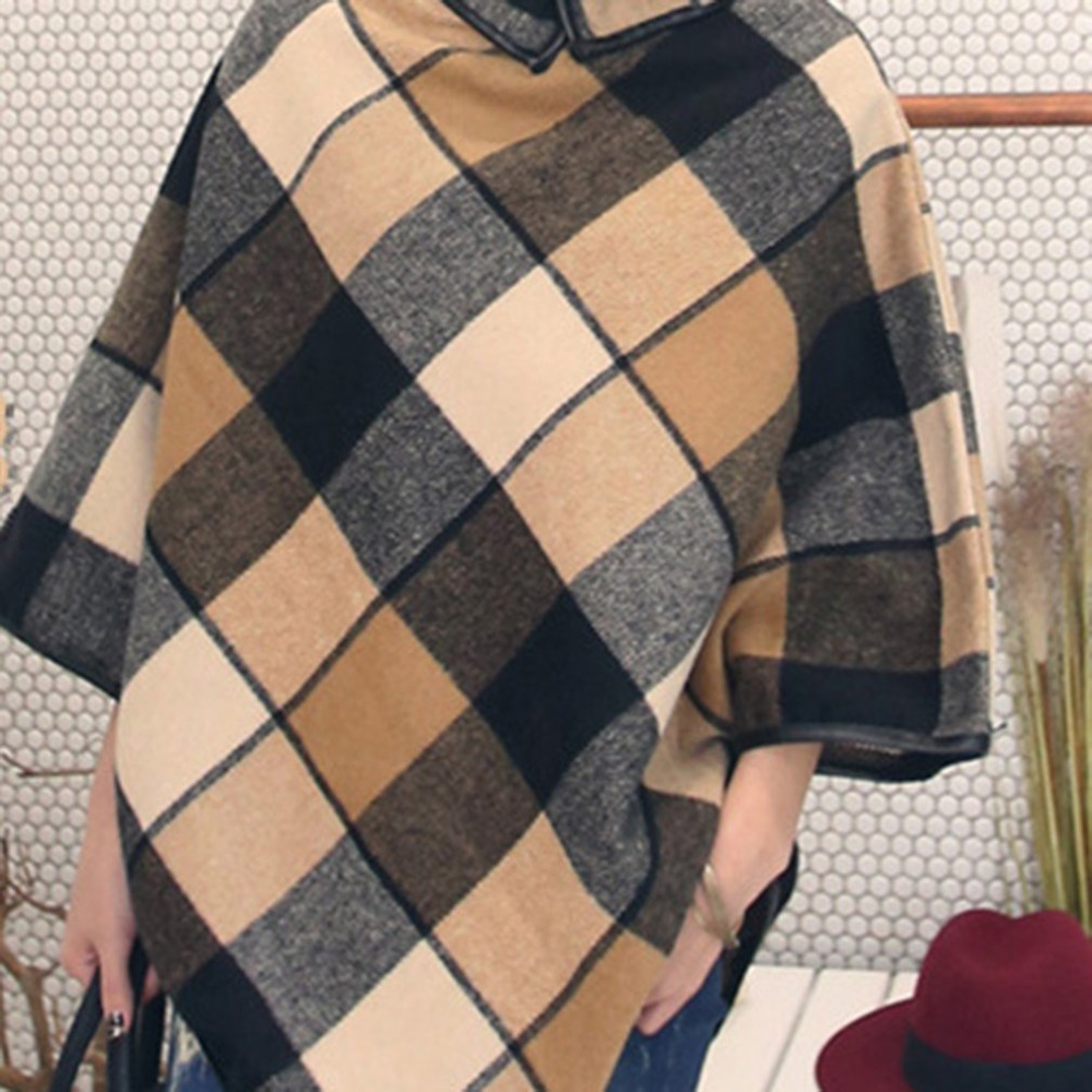 2018 New Spring Women Plaid Knitted Sweaters Fashionable Design Poncho Style Turtleneck Pullovers Luxury Lady High Street Tops