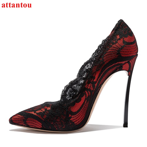 79bf54e423886 US $63.89 12% OFF|Sexy Lace Wine Red Shoes Luxury Women High Heels Black  lace trimmings Decor Metal Thin Heel Female Party Dress Shoes Pumps 34  43-in ...