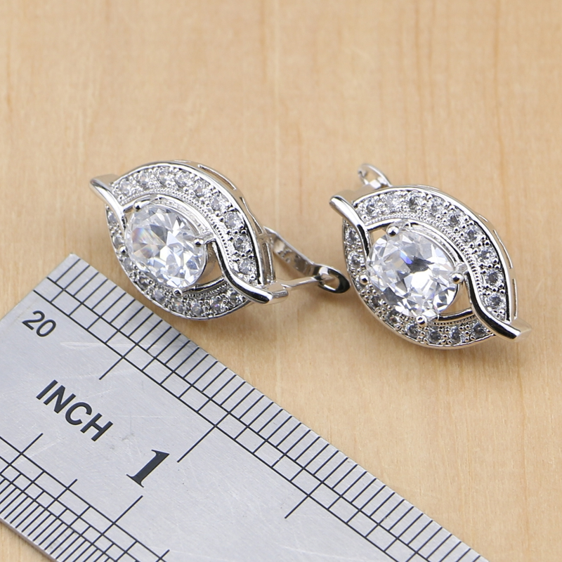 Oval 925 Sterling Silver Bridal Jewelry White Zircon Jewelry Sets For Women Wedding Earrings/Pendant/Necklace/Rings