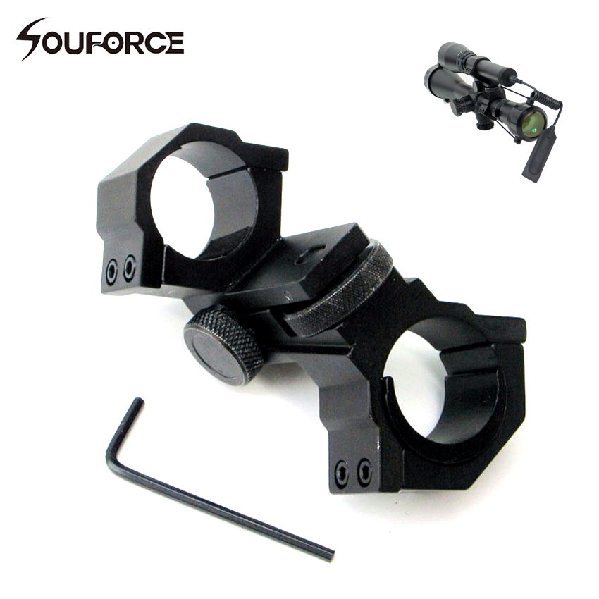 1pc Double Ring Mount Adjustable Elevation Windage Diameter 25.4mm/30mm for Scope Torch Sight Hunting Accessory