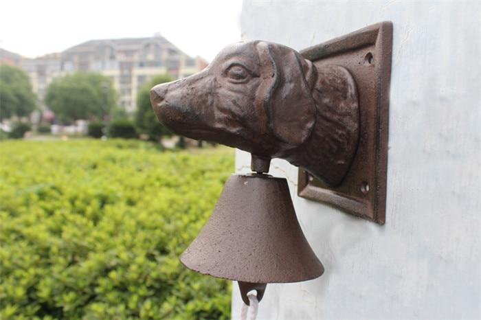 Винтажный чугунный дверной звонок с головой собаки, двухсторонний коричневый настенный металлический подвесной колокольчик, домик для дома, Декор для дома - 3