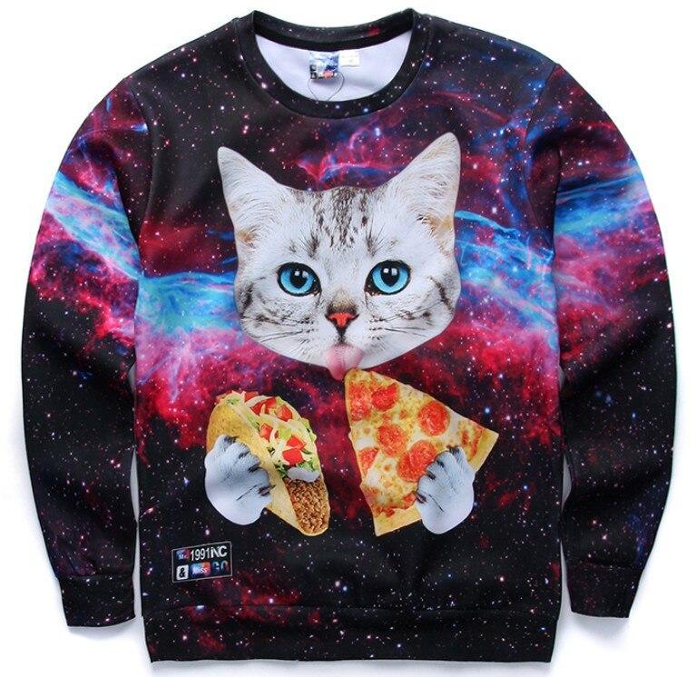HTB1Xn3pPFXXXXcmXpXXq6xXFXXXU - 3d sweatshirts for Women both side print Cats eat pizza sweatshirt