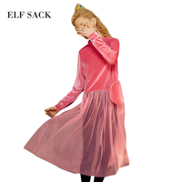 ELF SACK Velevt Dresses Womens Mesh Long Dress Female Vintage Pockets Sexy Autumn One Piece 2017