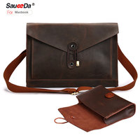 Sauceda For Macbook Pro 13 Case Retro Genuine Leather Sleeve Bag For Macbook Air Retina 13