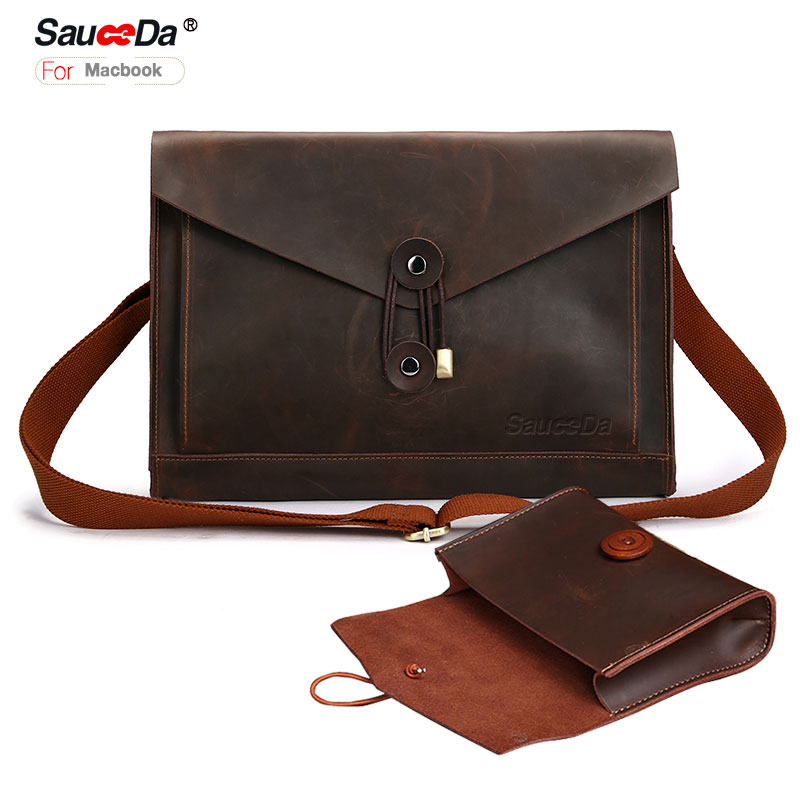 sauceda For macbook pro 13 case retro Genuine Leather sleeve bag for macbook air retina 13.3inch laptop with Mouse Charger pouch hot pu leather sleeve case for macbook air 11 air 13 retina 13 3 inch pro 15 4 envelope bag wholesales free drop shipping