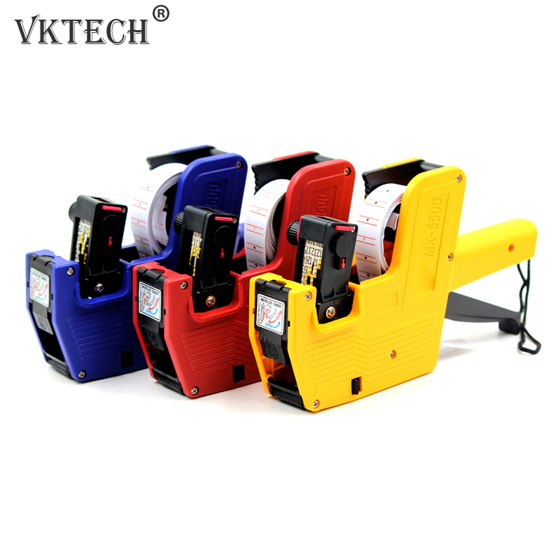 Garment Price Label Tagging Clothes Tag Gun MX-5500 8 Digits EOS Price Gun +500 White w/Red Lines Labels + 1Ink Random Color