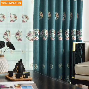 Custom curtains Chinese living room cotton linen embroidered bay window blue cloth blackout curtain tulle panel B378