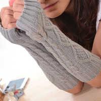 1 Pair Fashion Autumn Winter Spring Warm Women Ladies Girl Solid Gloves Arm Warmer Long Fingerless Xmas Knitting Wool Mittens