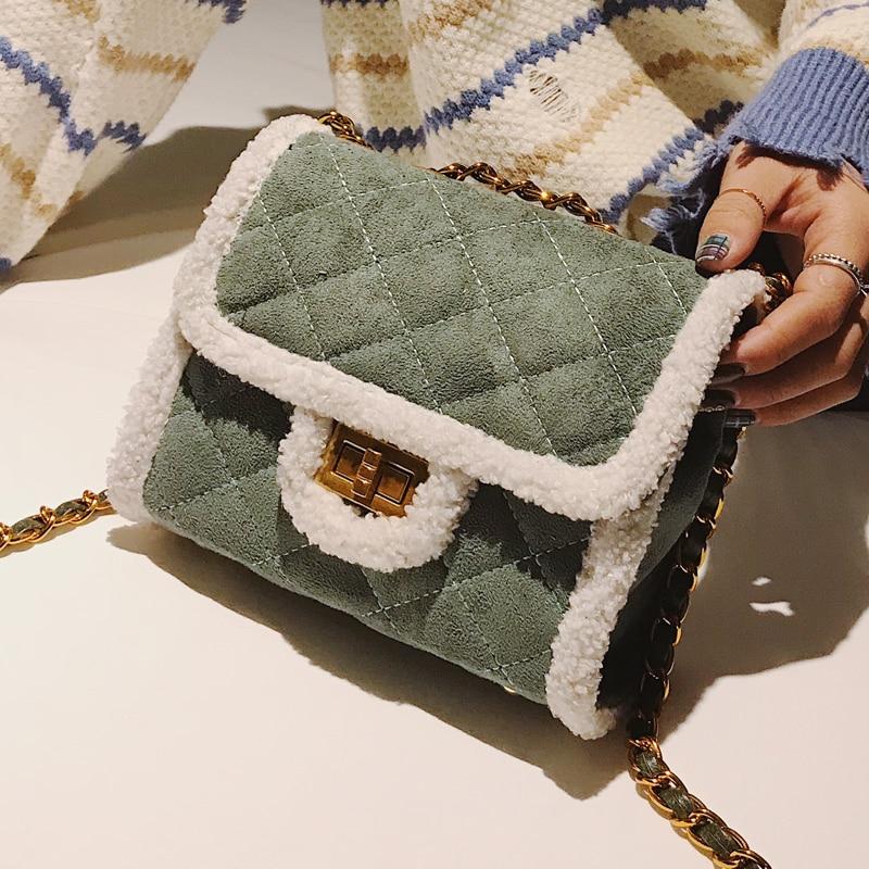 2018 Winter Fashion New Ladies Mini Square bag High quality Suede Women's Designer Handbag Lattice Chain Shoulder Messenger bags 1