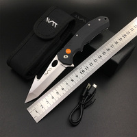 WTT LED Outdoor Folding Knife 9CR18 G10 Tactical Survival Hunting Pocket EDC Knives Combat Camping Rescue