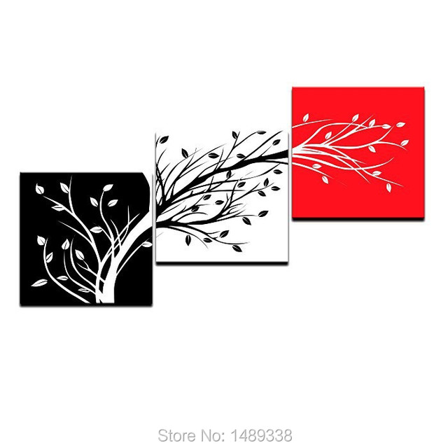 Three color Trees Oil Painting Home Decor Red Black White Canvas art ...