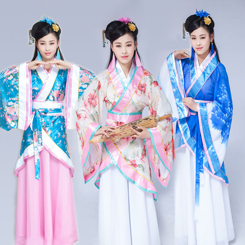 DJGRSTER 5 Color 2018 Autumn Girl Chinese Ancient Costume Hanfu Dresses Traditional Women Stage Dance Costumes Han Dynasty dress