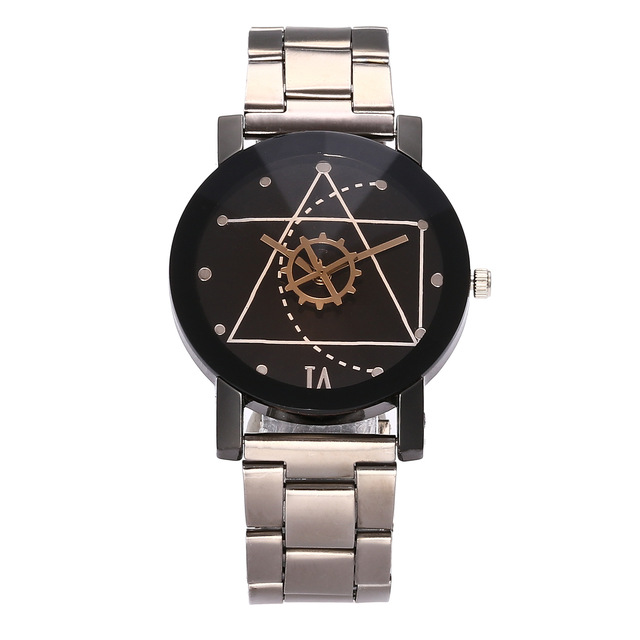 Couple Watches 2018 Stainless Steel Band Women's Wristwatch Geometric Gear Rivet