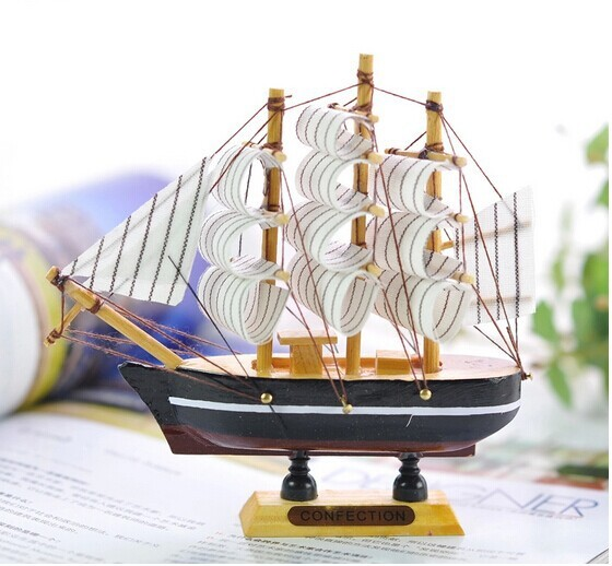 13cm Handmade Crafts Mini Wooden Model Ship Mediterranean Style Nautical Decor 6colors Home Decoration Gifts And In Figurines Miniatures From