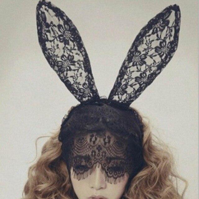 New Arrival Adult Sexy Black Eye Bunny Hair Accessories Black Lace Rabbit  Ears Veil Mask Hair 7d6c850630c1