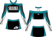 Professional Cheerleader Uniform Lycra Performance Sport Outfit Adult Kid Costume Pom Pom Hairbow 5 Sets