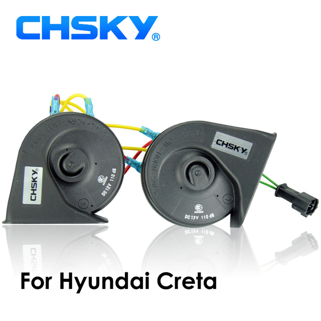 CHSKY Car Horn Snail type Horn For Hyundai Creta 2016 2017 12V Loudness 110 129db Auto Horn Long Life Time High Low Klaxon