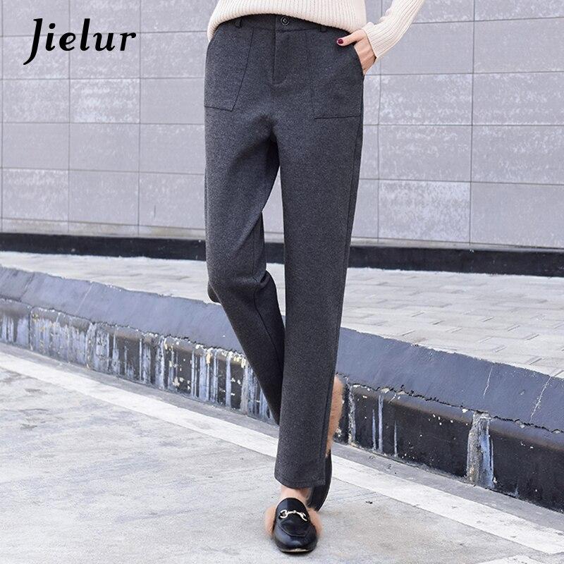 Jielur Autumn Winter Leisure Warm Woolen   Pants   Female Korean Fashion Solid Color Gray Black Harem   Pants   Casual Pockets   Capri   2XL