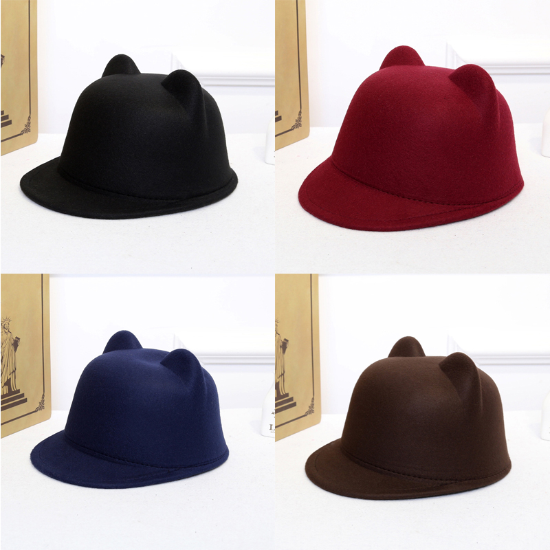 2018 Women Classic Vintage Warm Ladies Retro Fedoras Bucket Casual Cotton Solid Outdoor Equestrian Caps Top Small Hats