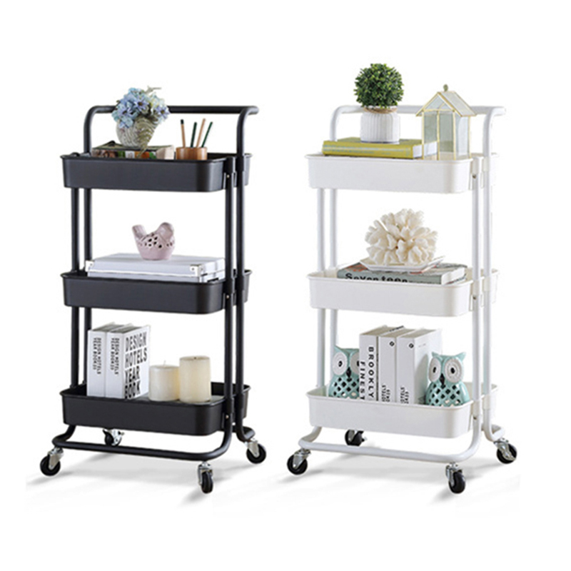 Large Size Full Metal Rolling Trolley for Kitchen 3-Tier Rolling Basket Stand