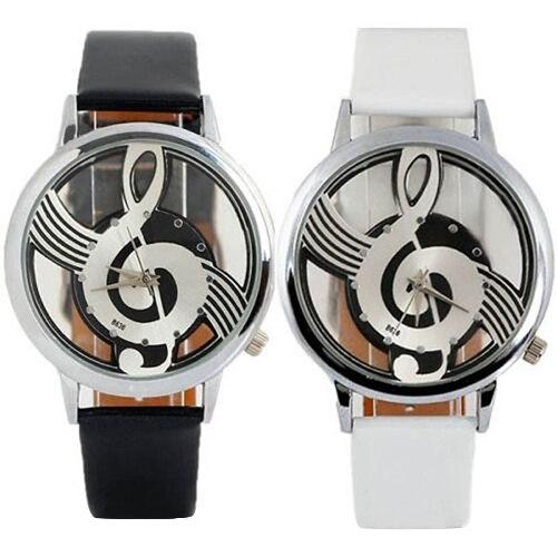 Popular Women's Men's Musical Note Notation Hollow Faux Leather Strap Quartz Wrist Watch  5UXH