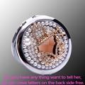 Grabado gratuito, bling Cristal bolso, Mini Belleza maquillaje espejo compacto del maquillaje del bolsillo, banquete de boda regalos presentes bridesamid
