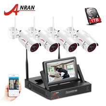 ANRAN Wifi Security Camera System 4CH 7″ LCD NVR Kit 4PCS 960P HD Outdoor Waterproof IP Surveillance Camera 1TB HDD For Optional