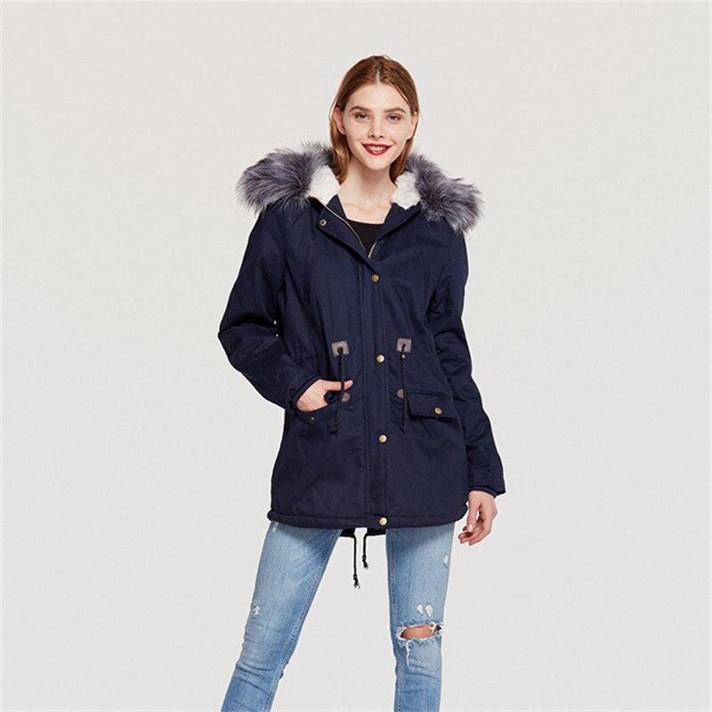 Bleu 2018 Green marine D'hiver Parkas Chaud Femmes Hiver army Poches Noir Coréenne La Style Taille Plus gris Long KJulcT1F3