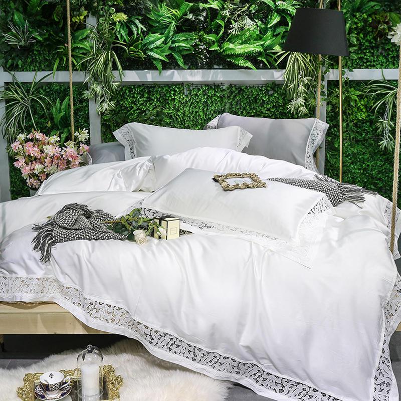 Coton égyptien Argent Blanc Ensemble de Literie Reine King size Bed sheet Set Équipée feuille de lit housse de Couette parrure de lit ropa de cama
