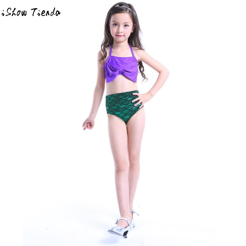 Drop Shipping Junior Girls Swimsuit Girls Kids Mermaid Swimmable Bikini Set Swimsuit Swimming Costume Moda Praia