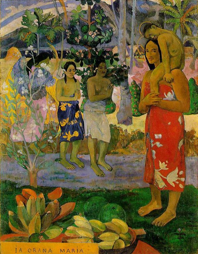 Reproductions de toile de peinture à l'huile de haute qualité Orana Maria (nous vous saluons marie) (1891) de Paul Gauguin peint à la main