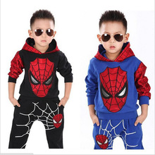Hot sale kids boys spring Spider Man clothing sets cotton long sleeve children boy Superman suits hoodie + pants two pieces new