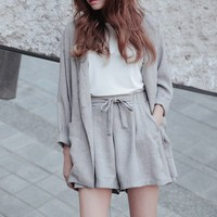 High Quality Cotton Linen Shorts Suits Summer Loose Blazer & Elastic Waist Hot Shorts Tracksuit for Women 2 piece set